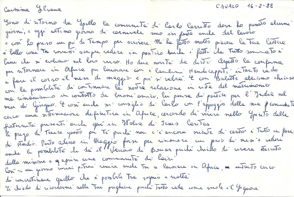 Lettera di Flavio a Silvana, in cui le confidava il desiderio di aprire una comunità di laici e la invitava a farne parte.