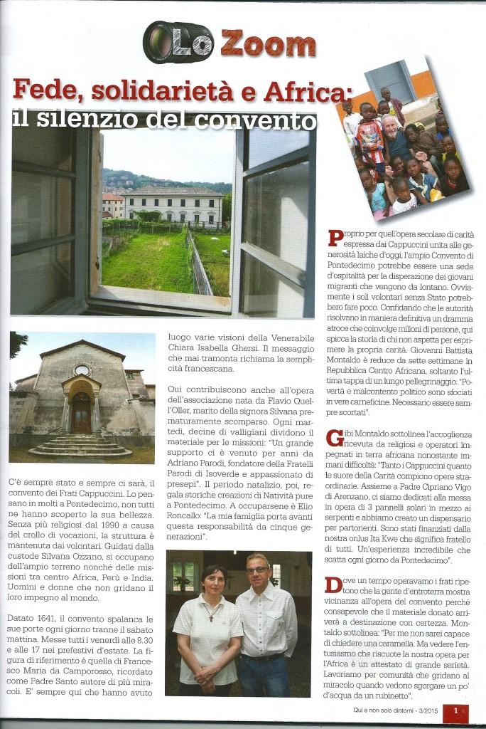 Servizio su convento e su Associazione