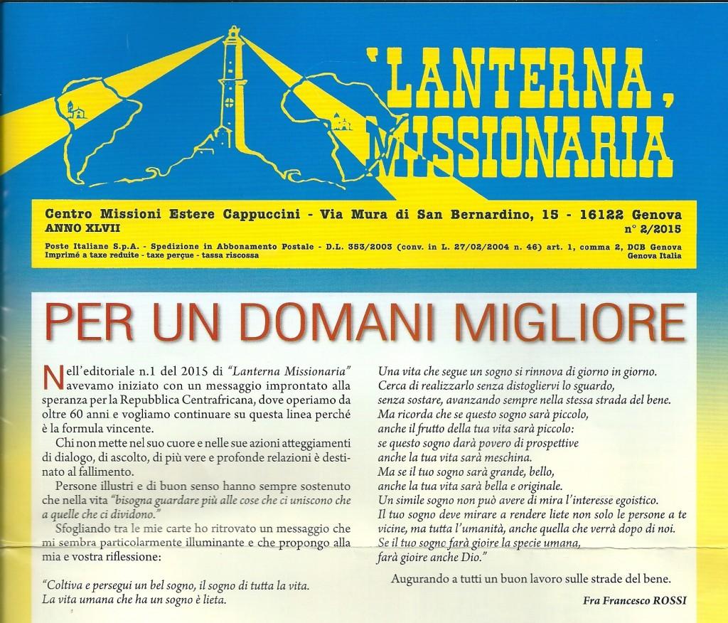 Titolo Lanterna Missionaria