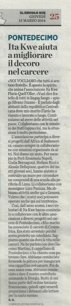 """Dalla rubrica """"Sotto casa"""" - de """"IL SECOLO XIX"""" di giovedì 13 Marzo 2014"""