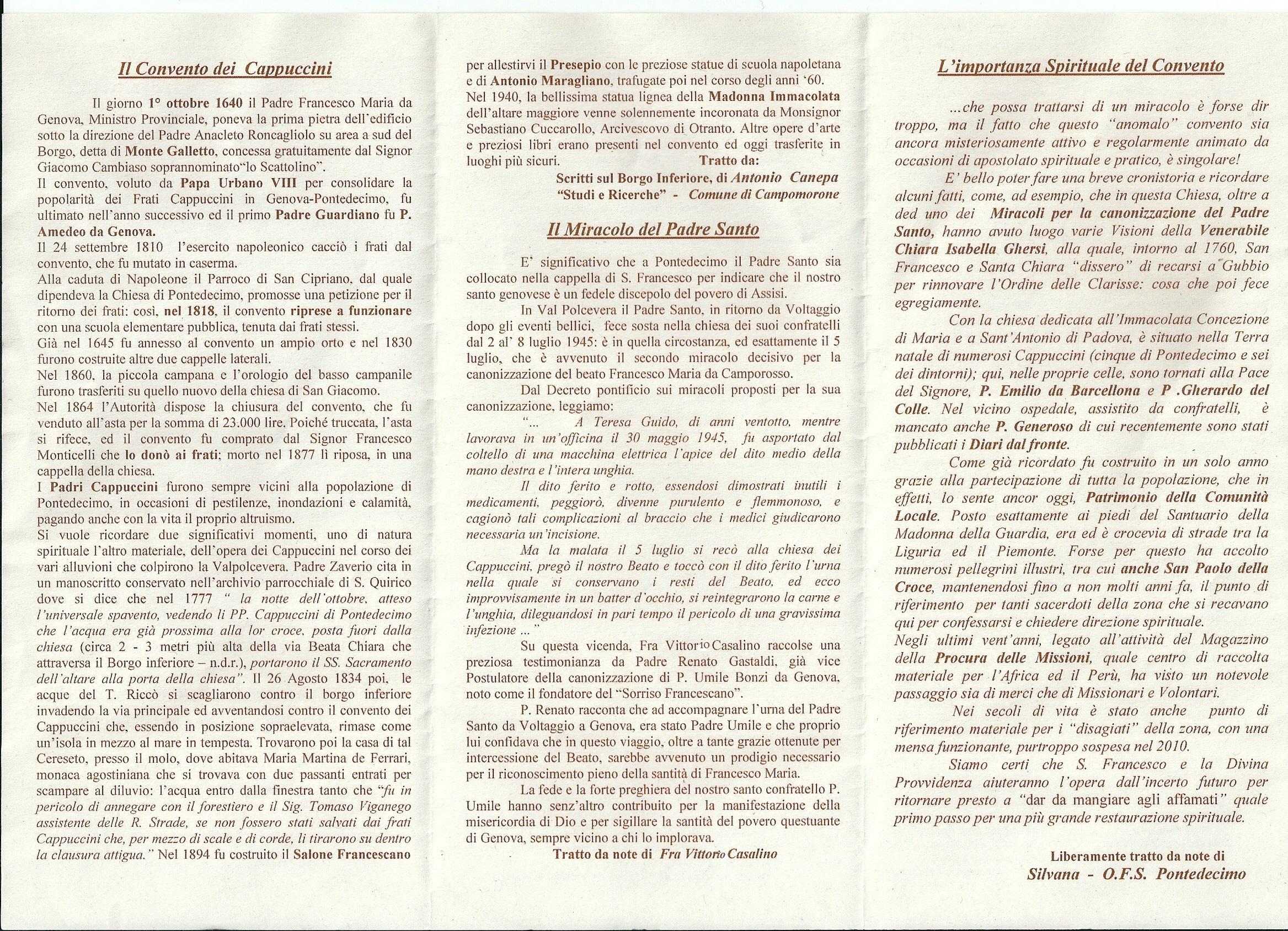 Cenni storici su convento Pontedecimo