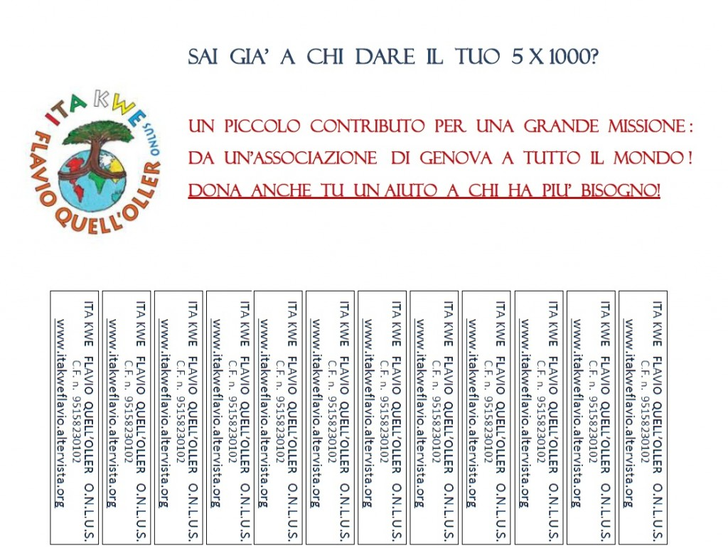 5 X 1000 A ITA KWE FLAVIO QUELL'OLLER ONLUS