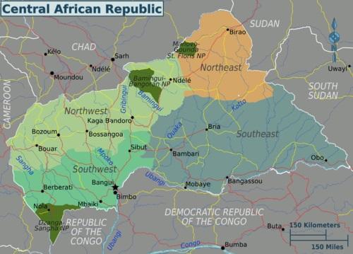 Cartina Geografica della Repubblica Centrafricana (R.C.A.)