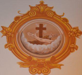 Stemma francescano nel salone del convento Cappuccini a Pontedecimo