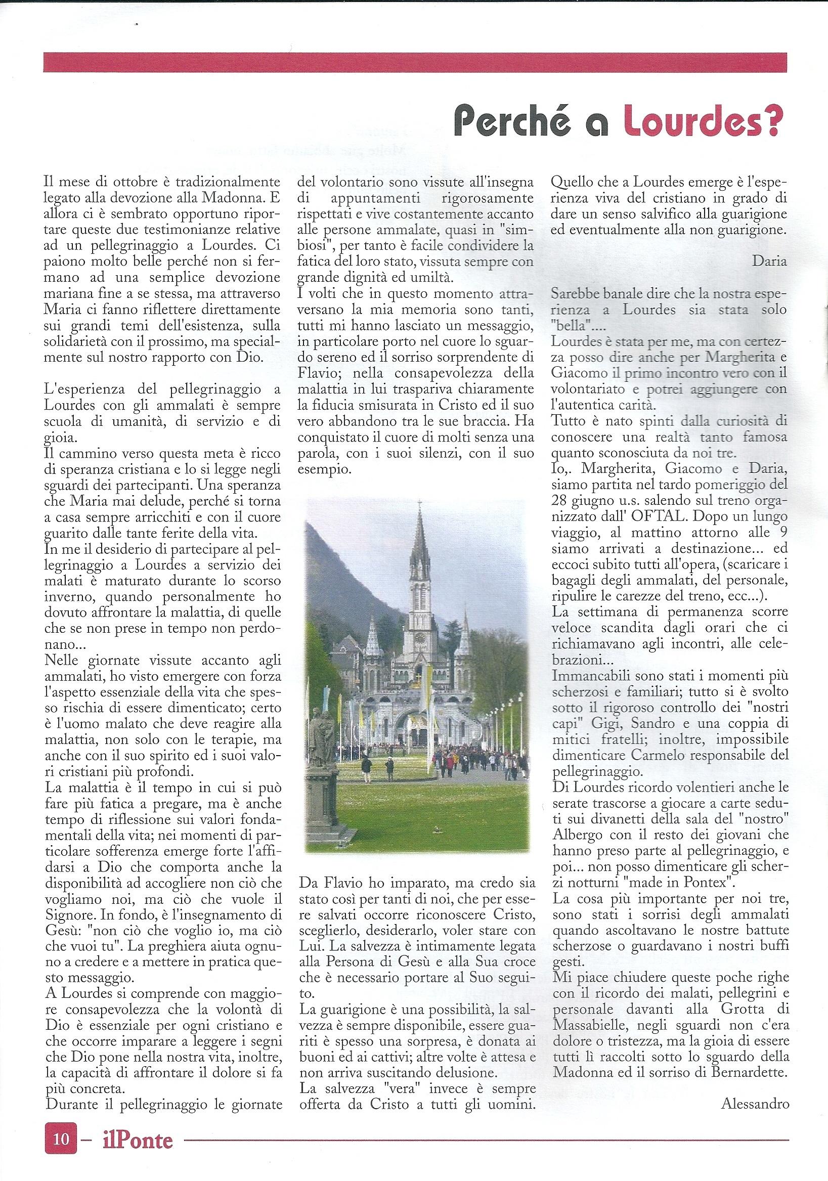 Ricordo del viaggio a Lourdes a luglio 2010