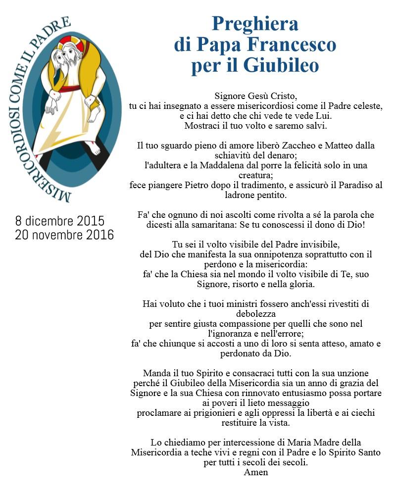 preghiera di Papa Francesco per il Giubileo