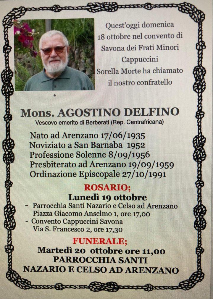 Annuncio funebre di p. Agostino Delfino
